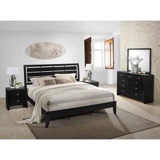 Gloria 350 Black Finish Wood Bed Room Set, Queen Bed, Dresser, Mirror, 2 Night Stands