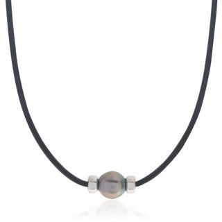 Pearls For You Sterling Silver Tahitian Pearl Black Rubber Necklace (10-11 mm)
