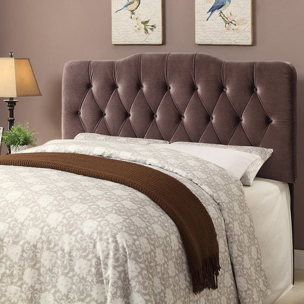 shop tufted brown velvet fabric king size upholstered headboard on sale free shipping today. Black Bedroom Furniture Sets. Home Design Ideas