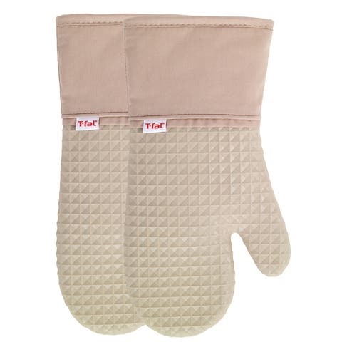 T-fal Textiles 2 Pack Soft Flex Waffle Silicone Oven Mitt Set