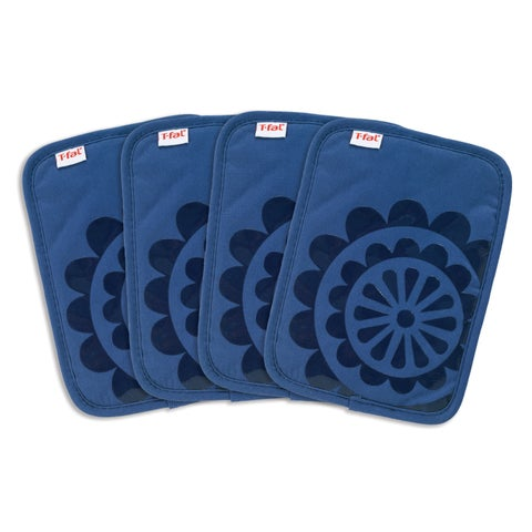 T-fal Textiles 4 Pack Print Silicone Medallion Cotton Twill Pot Holder Set