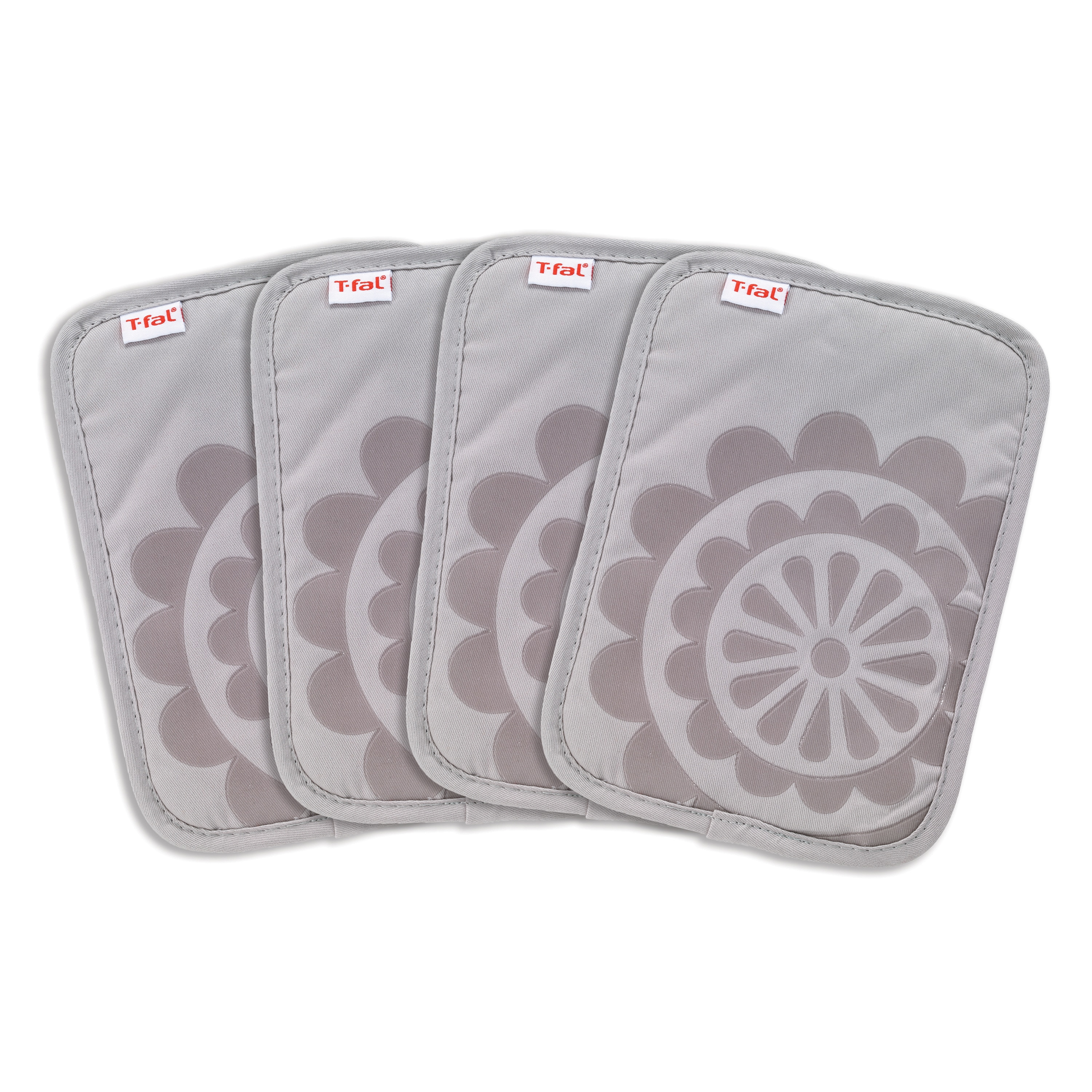 T Fal Textiles 4 Pack Print Silicone Medallion Cotton Twill Pot Holder Set Overstock 15635391 Sand