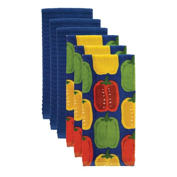 T-fal Textiles 6 Pack Print Fiber Reactive & Solid Waffle Terry Kitchen Dish Towel Cloth Set - 16 x 28