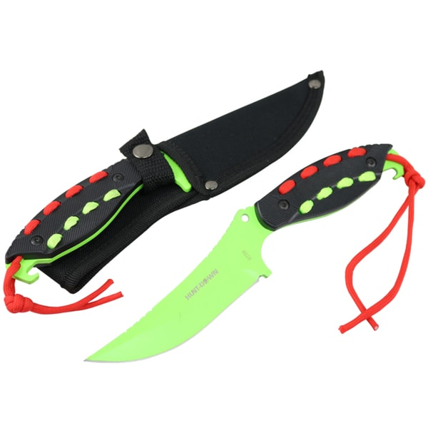 """Hunt-Down 8"""" Light Green Hunting Knife With Black Handle and Green Red paracord"""