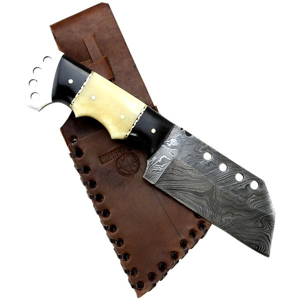 """Hunt-Down 8.5"""" Full Tang Damascus Blade Horn Handle Hunting Knife With Sheath"""
