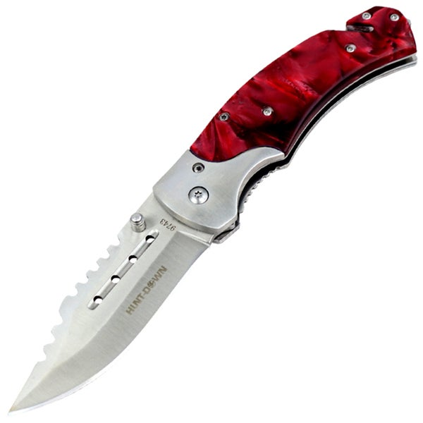 "Hunt-Down 8"" Spring Assisted Tactical Rescue Pocket Knife - Maroon Handle"