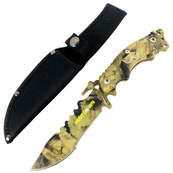 """Hunt-Down 10"""" Stainless Steel Full Tang Survival Hunting Knife Camo Handle"""