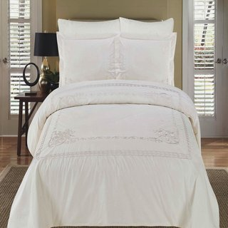 Athena Embroidered Cotton White Duvet Cover 3-piece Set