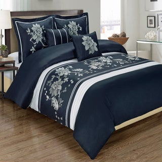 5 Piece Myra 100% Cotton Navy Duvet Cover Set