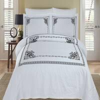 Athena Embroidered 100-percent Cotton Black/ White Duvet Cover 3-piece Set