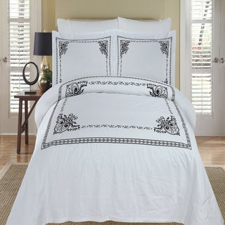 Athena Embroidered 100-percent Cotton Black/ White Duvet Cover 3-piece Set