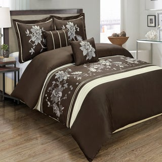 5-piece Myra 100% Cotton Chocolate Duvet Cover Set
