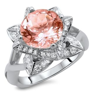 Noori 14k White Gold 2ct TGW Round-cut Morganite Diamond Lotus Flower Engagement Ring (G-H, SI1-SI2)