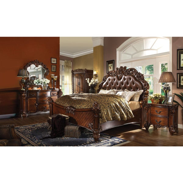 Shop JV Sleigh Cherry Wood Bed   Free Shipping Today   Overstock   15635597