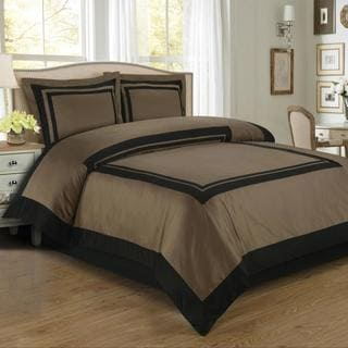 Hotel 100% Cotton Taupe / Black Duvet Cover Set