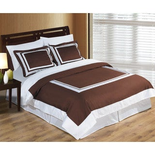 Hotel 100-percent Cotton Chocolate/White Duvet Cover Set