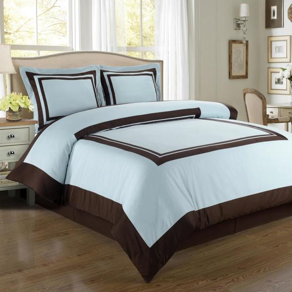 Hotel Cotton Blue and Chocolate Duvet Cover Set