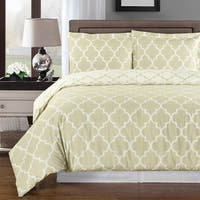 Meridian Cotton Beige and Ivory Duvet Cover Sets