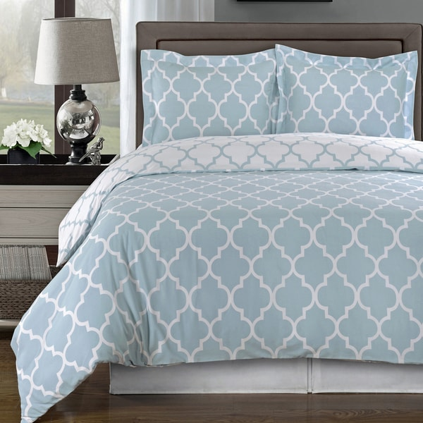 Meridian 100% Cotton Periwinkle / White Duvet Cover Sets