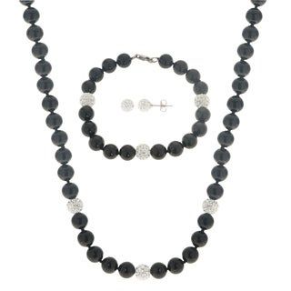 Gems For You 3PC Black Onyx and Crystal Necklace, Bracelet and Earring Set