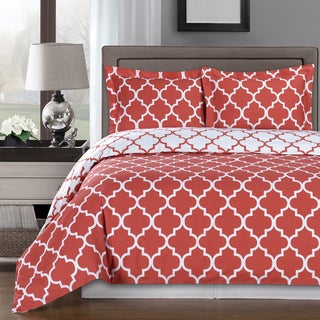 Meridian 100% Cotton Coral / White Duvet Cover Sets