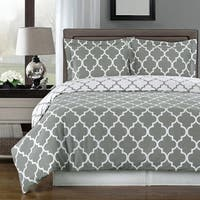 Meridian Cotton Grey and White Duvet Cover Set