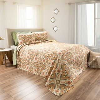 Maria Embossed Reversible Light Green Quilt Set by Windsor Home