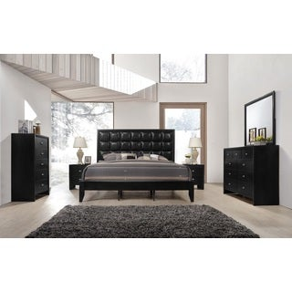 Gloria 350 Black Finish Wood and Upholstered Bed Room Set, King Bed, Dresser, Mirror, 2 Night Stands, Chest