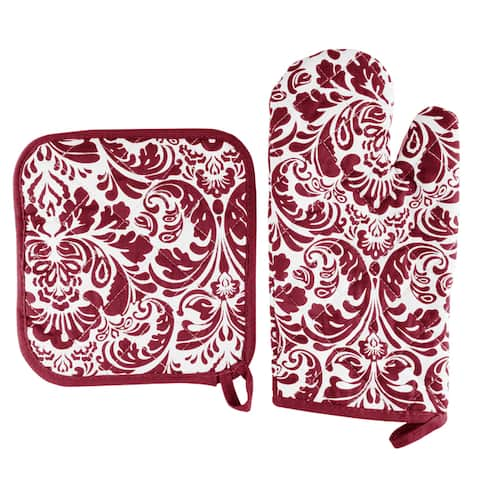 Oven Mitt And Pot Holder Set, Quilted And Flame And Heat Resistant By Windsor Home
