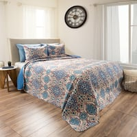 Alexandra Blue Embossed Reversible Quilt Set by Windsor Home