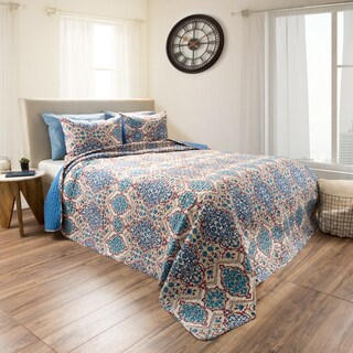 Alexandra Blue Embossed Reversible Quilt Set by Windsor Home