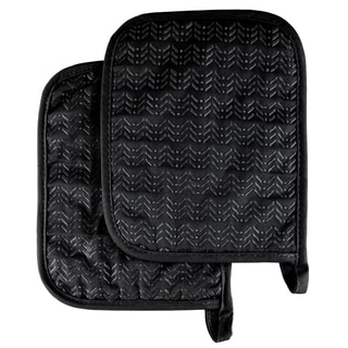 Pot Holder Set With Silicone Grip, Quilted And Heat Resistant (Set of 2) By Windsor Home (Option: Black)