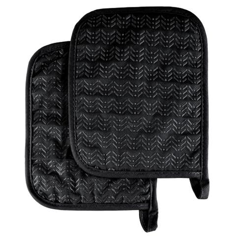 Pot Holder Set With Silicone Grip, Quilted And Heat Resistant (Set of 2) By Windsor Home