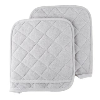 Pot Holder Set, 2 Piece Oversized Heat Resistant Quilted Cotton Pot Holders By Windsor Home (Option: Silver)