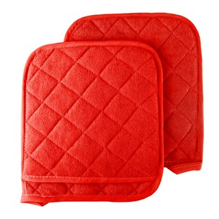 Pot Holder Set, 2 Piece Oversized Heat Resistant Quilted Cotton Pot Holders By Windsor Home