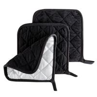 Pot Holder Set, 3 Piece Set Of Heat Resistant Quilted Cotton Pot Holders By Windsor Home