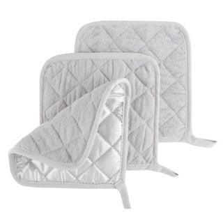 Pot Holder Set, 3 Piece Set Of Heat Resistant Quilted Cotton Pot Holders By Windsor Home (Option: Silver)