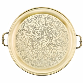 Cairo 18-inch Champagne Tone Etched Steel Tray