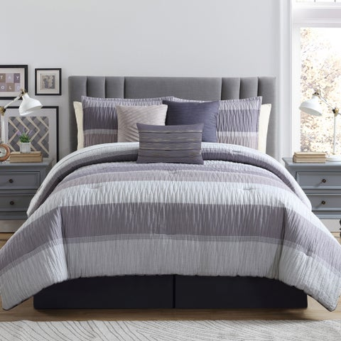 York 7-piece Comforter Set with Bed Ruffle and 3 Decorative Pillows