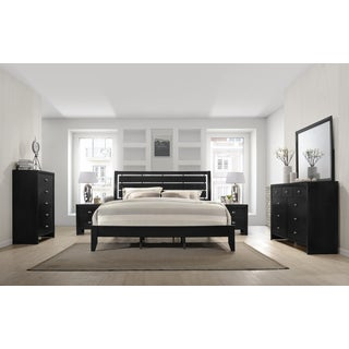 Gloria 350 Black Finish Wood Bed Room Set, King Bed, Dresser, Mirror, 2 Night Stands, Chest