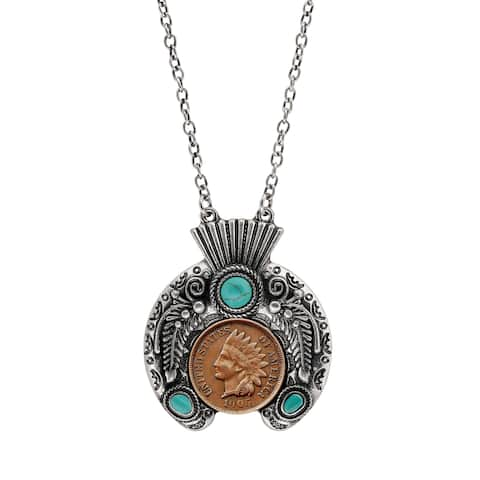 Indian Penny Ornate Headdress Necklace - Silver