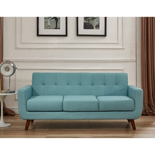 U.S. Pride Furniture Grace Rainbeau Linen Upholstered Tufted Mid-century Sofa