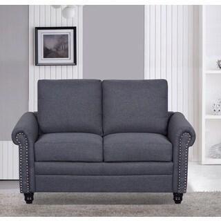 U.S. Pride Furniture Linen Fabric Mid Century Nailhead Loveseat (5 Options  Available)