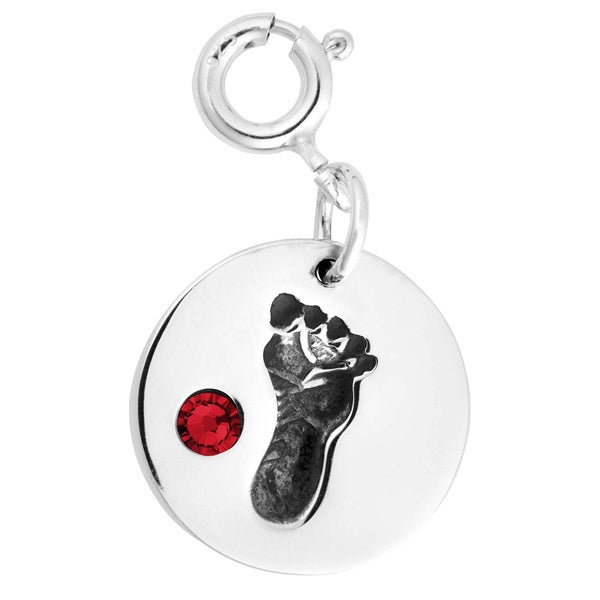 Sterling Silver Footprint and Birthstone Charm