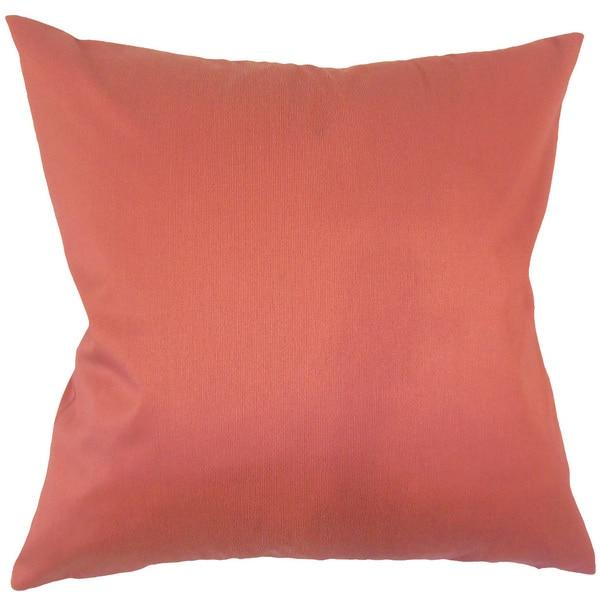 Aditya Solid 24-inch Feather Throw Pillow - Orange