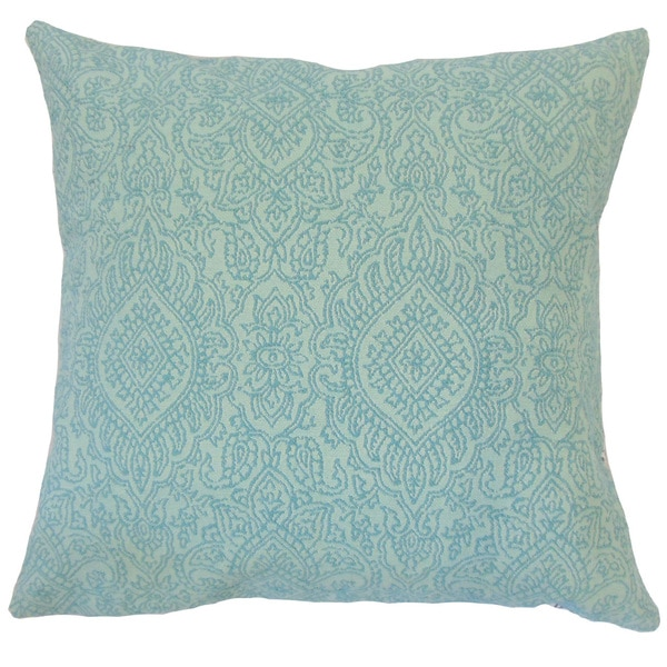 Hessa Damask 24-inch Down Feather Throw Pillow - Turquoise - Free Shipping Today - Overstock.com ...