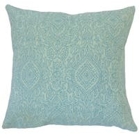 Hessa Damask 24-inch  Feather Throw Pillow - Turquoise