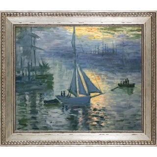 Claude Monet 'Sunrise, The Sea' Hand Painted Framed Oil Reproduction on Canvas