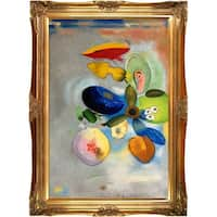 Odilon Redon 'Flowers, 1914-1916' Hand Painted Framed Oil Reproduction on Canvas