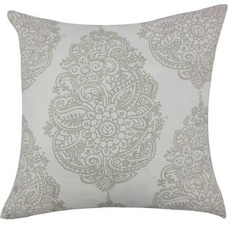 "Lanza Damask 24"" x 24"" Down Feather Throw Pillow Grey"